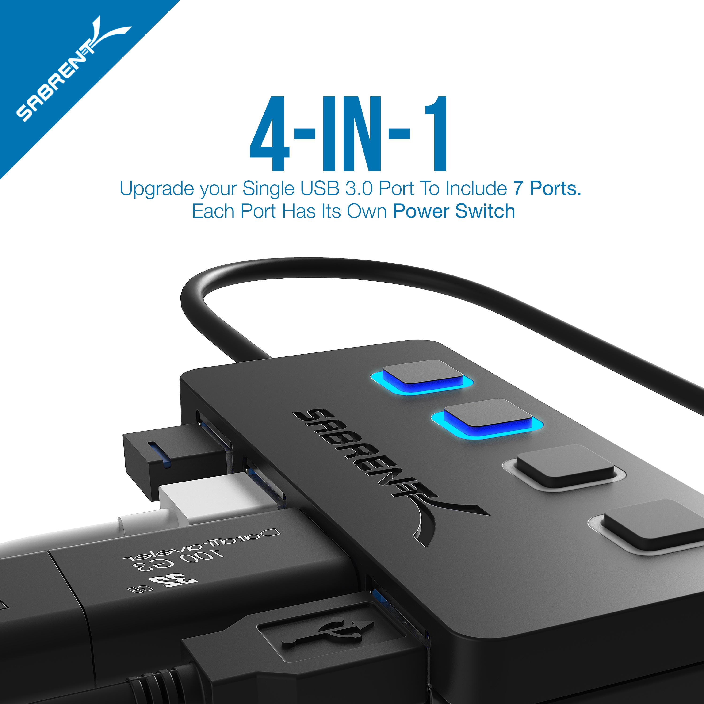 Sabrent USB de puertos 3.0 Hub con interruptores individuales de energía y LE